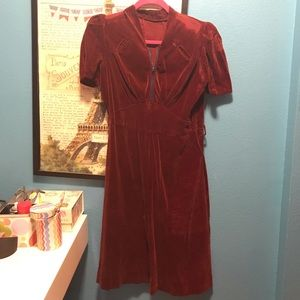 Red velvet 1930s vintage dress